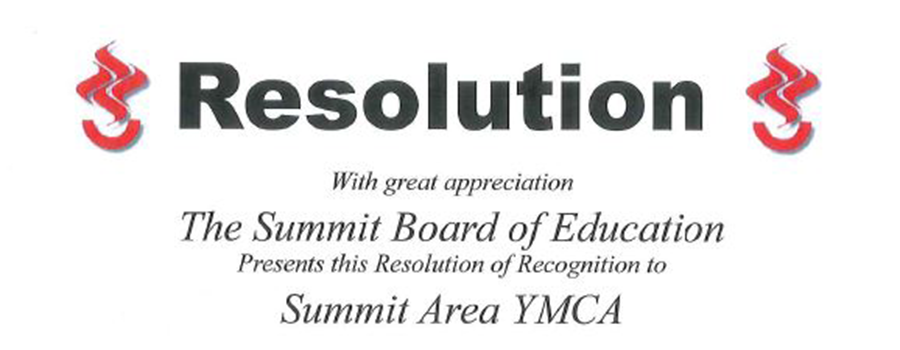 Summit Board of Education Presents Resolution of Recognition to Summit Area YMCA